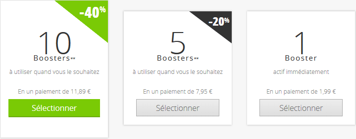 prix booster meetic
