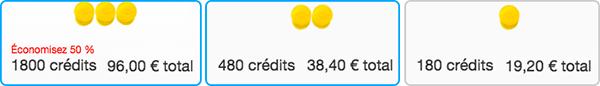tarif credit zoosk