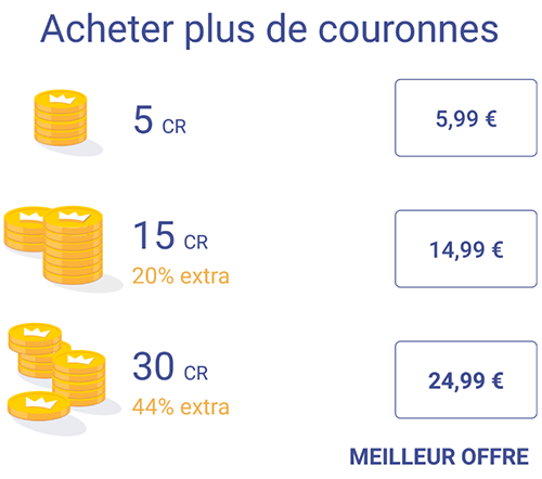 prix couronne once